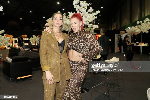 Harriet Rose and Justina Valentine are seen backstage during the MTV EMAs 2019 at FIBES Conference and Exhibition Centre on November 03 2019 in...