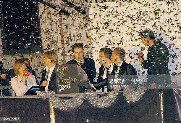 Harriet Scott Westlife and Jamie Theakston during Light Up London 2005 Oxford Street Christmas Lights with Westlife at Barratt House 341349 Oxford...