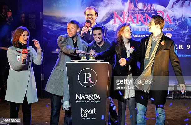 Harriet Scott Will Poulter Jamie Theakston Joe McElderry Georgie Henley and Ben Barnes switch on the Regent Street Lights on November 9 2010 in...