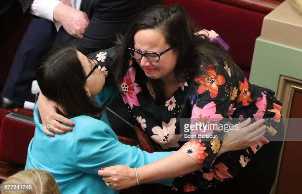 Harriet Shing MP reacts as the bill passes inside of the Parliament of Victoria after the Upper House voted to pass historic euthanasia laws on...