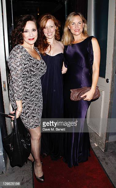 Harriet Thorpe Clare Foster Kim Medcalf attend an after party following the 'Crazy For You' press night at the Jewel Bar on October 17 2011 in London...