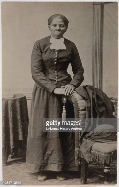 Harriet Tubman 18201913 American Abolitionist FullLength Standing Portrait with Hands resting on Chair by Harvey B Lindsley early 1870s