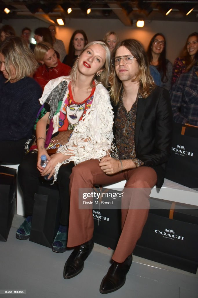 Harriet Verney (L) and Bunny Kinney attend the Matty Bovan front row during London Fashion Week September 2018 at the BFC Show Space on September 14, 2018 in London, England.