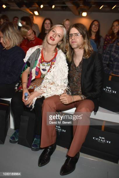 Harriet Verney and Bunny Kinney attend the Matty Bovan front row during London Fashion Week September 2018 at the BFC Show Space on September 14 2018...