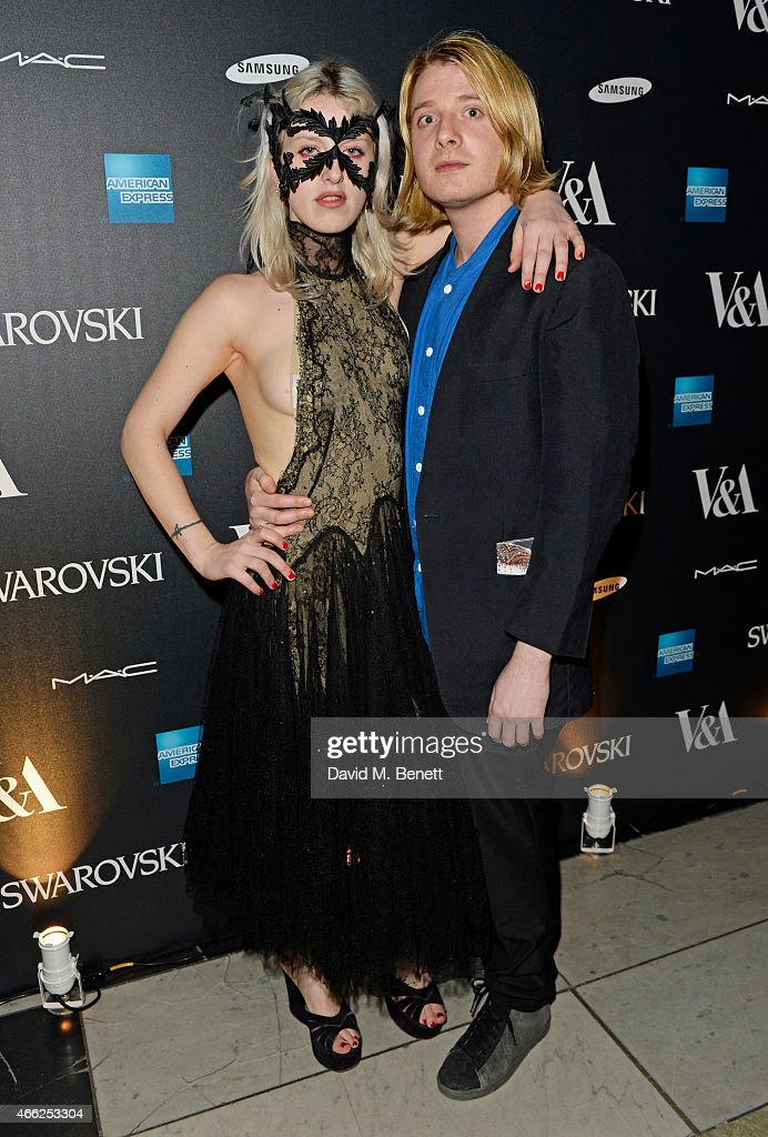 Harriet Verney (L) and Dominic Jones arrive at the Alexander McQueen: Savage Beauty VIP private view at the Victoria and Albert Museum on March 14, 2015 in London, England.