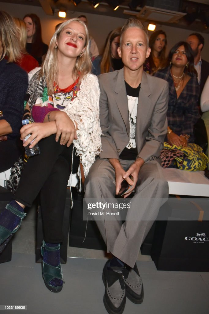 Harriet Verney (L) and Jefferson Hack attend the Matty Bovan front row during London Fashion Week September 2018 at the BFC Show Space on September 14, 2018 in London, England.