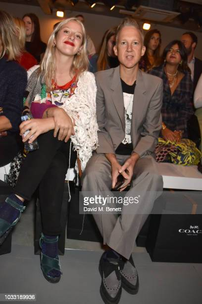 Harriet Verney and Jefferson Hack attend the Matty Bovan front row during London Fashion Week September 2018 at the BFC Show Space on September 14...