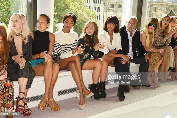 Harriet Verney, Phoebe Collings-James, Jourdan Dunn, Chloe Green, Ciara, Sir Philip Green, Anna Wintour and Suki Waterhouse sit in the front row at...