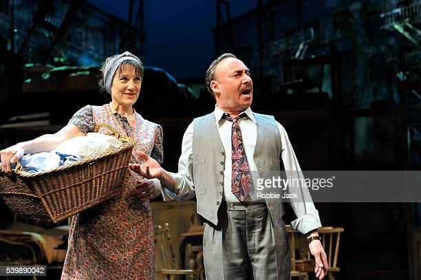 Harriet Walter as Linda Loman and Antony Sher as Willy Loman in the Royal Shakespeare Company's production of Arthur Miller's Death of a Salesman...