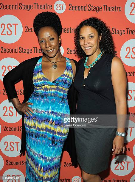 Harriett Foy and Linda Powell attend the All New People opening night after party at HB Burger on July 25 2011 in New York City