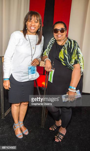 Harriette Mimms and Christine Boulware attend the Women Filmmakers Event during 2017 Los Angeles Film Festival at Festival Lounge on June 16 2017 in...