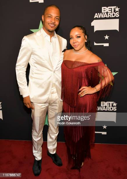Harris and Tiny Harris pose for a portrait at the 2019 BET Awards on June 23, 2019 in Los Angeles, California.