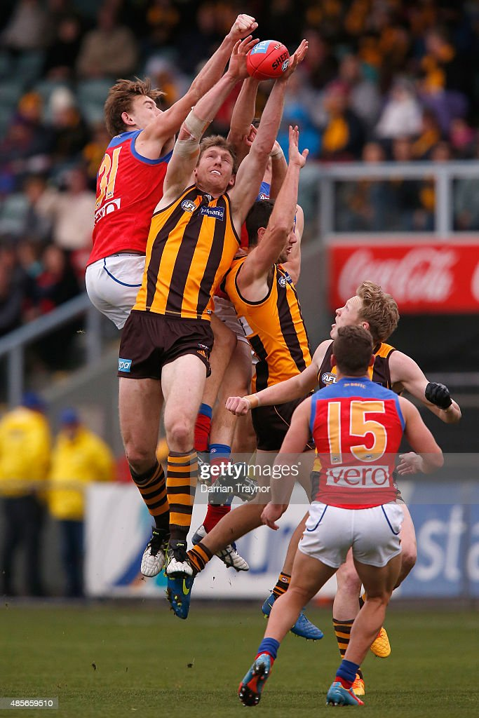 Harris Andrews of the Lions spoils Ben McEvoy of the Hawks during the round 22 AFL match between the Hawthorn Hawks and the Brisbane Lions at Aurora Stadium on August 29, 2015 in Launceston, Australia.