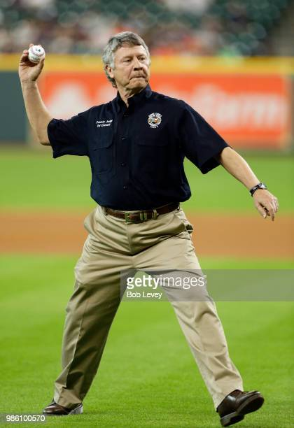 Harris County Judge Ed Emmett throws out first pitch at Minute Maid Park on June 25 2018 in Houston Texas