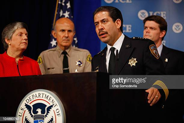 Harris County, Texas Sheriff Adrian Garcia talks about the Department of Homeland Security's Secure Communities program during a news conference with...