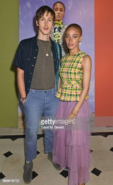 Harris Dickinson and Adwoa Aboah attend the Burberry x Adwoa cocktail party at Thomas's on June 8 2018 in London Englan
