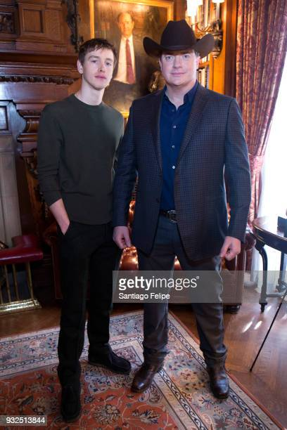 Harris Dickinson and Brendan Fraser attend the FX Networks' Trust cast lunch at The Lotos Club on March 15 2018 in New York City
