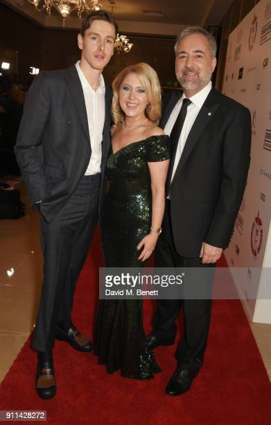 Harris Dickinson Anna Smith and Rich Cline attend the London Film Critics' Circle Awards 2018 at The May Fair Hotel on January 28 2018 in London...