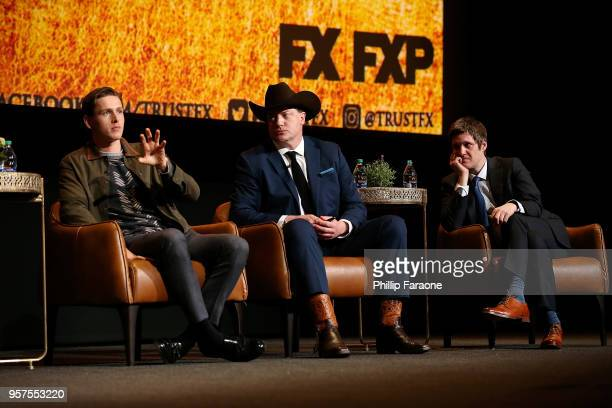 Harris Dickinson Brendan Fraser and Michael Esper speak onstage during the For Your Consideration Event for FX's 'Trust' at Saban Media Center on May...