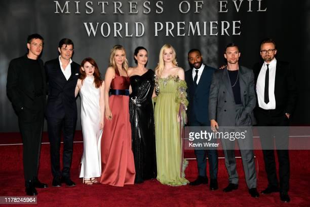 Harris Dickinson, Sam Riley, Jenn Murray, Michelle Pfeiffer, Angelina Jolie, Elle Fanning, Chiwetel Ejiofor, Ed Skrein, and Joachim Rønning attend...