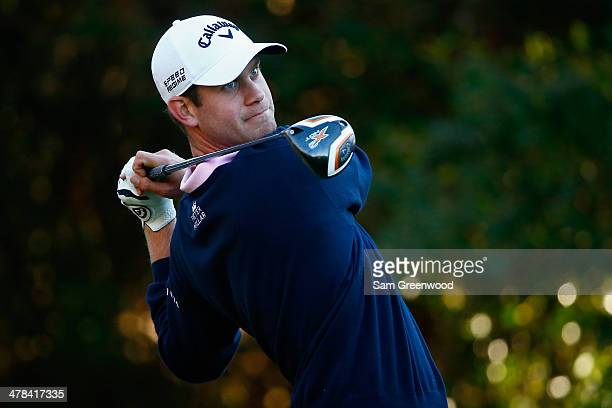 Harris English hits a tee shot on the 11th hole during the first round of the Valspar Championship at Innisbrook Resort and Golf Club on March 13...