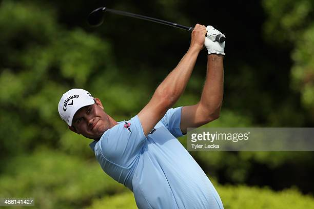 Harris English hits a tee shot on the 12th hole during the first round of the RBC Heritage at Harbour Town Golf Links on April 17 2014 in Hilton Head...