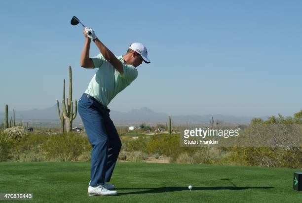 Harris English hits a tee shot on the fifth hole during the second round of the World Golf Championships Accenture Match Play Championship at The...