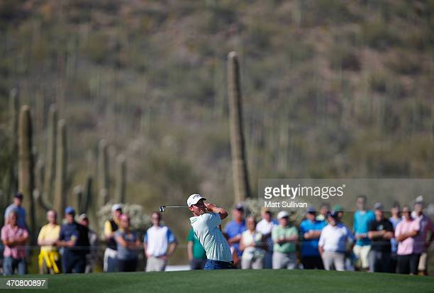 Harris English hits his second shot on the 18th hole during the second round of the World Golf Championships Accenture Match Play Championship at The...