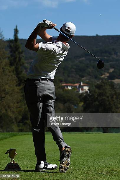 Harris English hits his tee shot on the fifth hole during round two of the Fryscom Open at Silverado Resort and Spa on October 10 2014 in Napa...