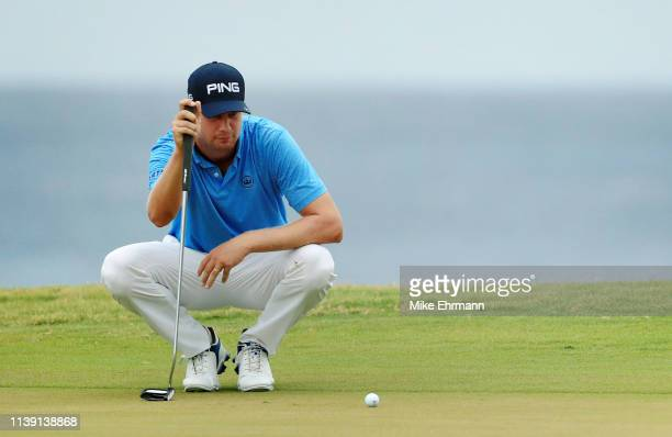 Harris English lines up a putt on the 18th green during the second round of the Corales Puntacana Resort Club Championship on March 29 2019 in Punta...
