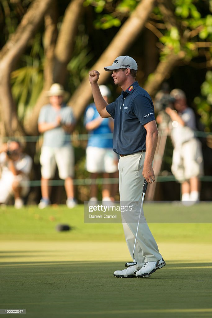 Harris English of the United States acknowledges the gallery at the 18th hole during the final round of the 2013 OHL Classic at Mayakoba, played at El Camaleon Golf Club on November 17, 2013 in Playa Del Carmen, Mexico.