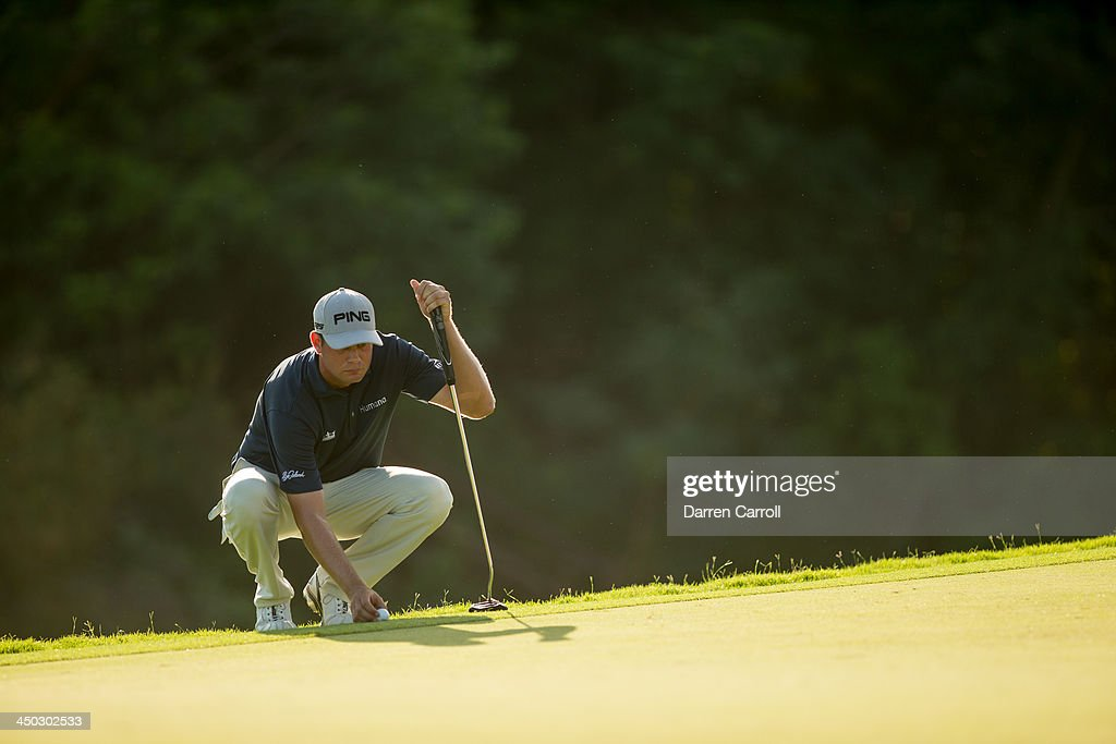 Harris English of the United States looks over a putt at the 17th hole during the final round of the 2013 OHL Classic at Mayakoba, played at El Camaleon Golf Club on November 17, 2013 in Playa Del Carmen, Mexico.