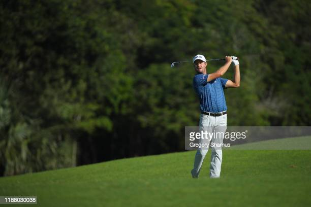Harris English of the United States plays a shot on the ninth hole during the second round of the Mayakoba Golf Classic at El Camaleon Mayakoba Golf...