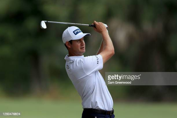 Harris English of the United States plays his second shot on the 15th hole during the first round of the RBC Heritage on June 18, 2020 at Harbour...