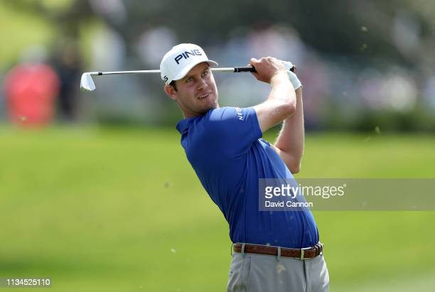 Harris English of the United States plays his second shot on the par 4 first hole during the second round of the 2019 Arnold Palmer Invitational...