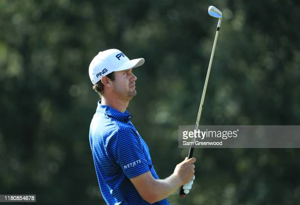 Harris English of the United States plays his shot from the 16th tee during the final round of the Houston Open at the Golf Club of Houston on...