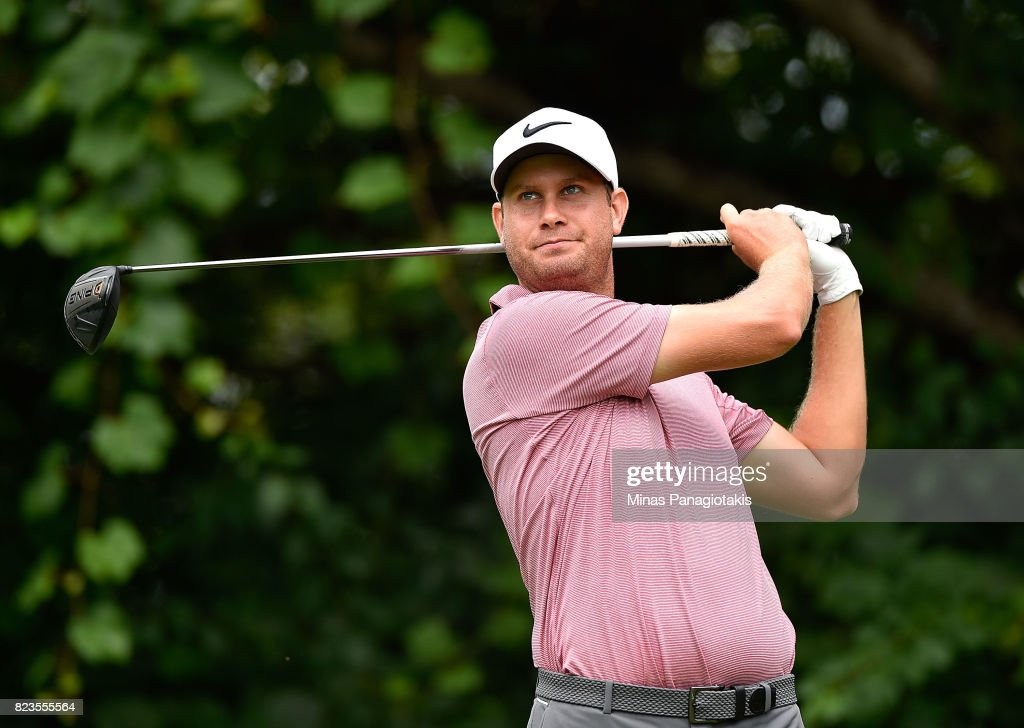 Harris English of the United States plays his shot from the 16th tee during round one of the RBC Canadian Open at Glen Abbey Golf Club on July 27, 2017 in Oakville, Canada.