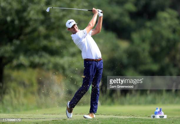 Harris English of the United States plays his shot from the eighth tee during the second round of the Sanderson Farms Championship at The Country...