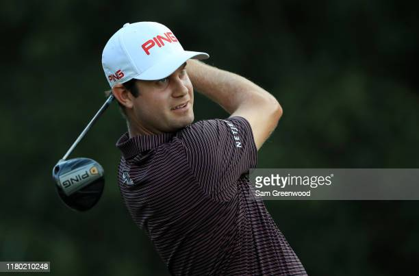 Harris English of the United States plays his shot from the second tee during the first round of the Houston Open at the Golf Club of Houston on...