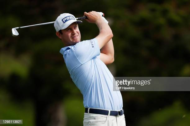 Harris English of the United States plays his shot from the second tee during the first round of the Sentry Tournament Of Champions at the Kapalua...