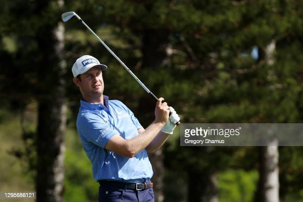 Harris English of the United States plays his shot from the second tee during the final round of the Sentry Tournament Of Champions at the Kapalua...
