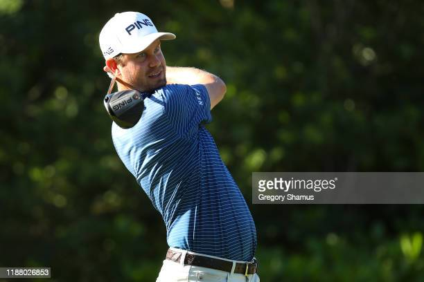 Harris English of the United States plays his shot from the seventh tee during the second round of the Mayakoba Golf Classic at El Camaleon Mayakoba...