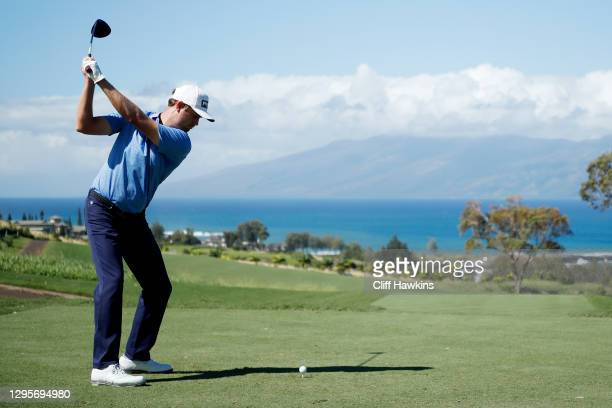 Harris English of the United States plays his shot from the seventh tee during the final round of the Sentry Tournament Of Champions at the Kapalua...