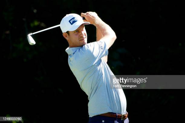Harris English of the United States plays his shot from the sixth tee during the first round of the Charles Schwab Challenge on June 11, 2020 at...