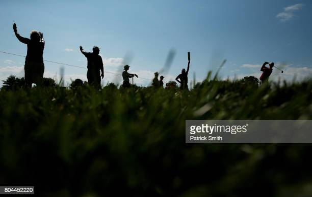 Harris English of the United States plays his shot from the tenth tee during the second round of the Quicken Loans National on June 30, 2017 TPC...