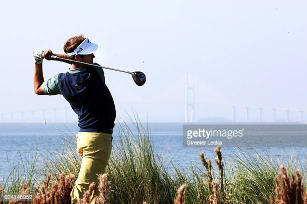 Harris English of the United States plays his tee shot on the 14th hole during the second round of the RSM Classic at Sea Island Resort Seaside...