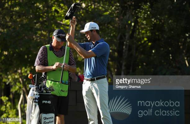 Harris English of the United States prepares to play from the seventh tee during the second round of the Mayakoba Golf Classic at El Camaleon...