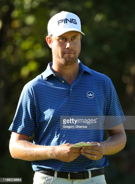 Harris English of the United States prepares to play his shot from the seventh tee during the second round of the Mayakoba Golf Classic at El...