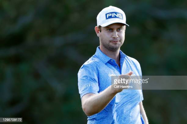 Harris English of the United States reacts after finishing on the 18th green during the final round of the Sentry Tournament Of Champions at the...