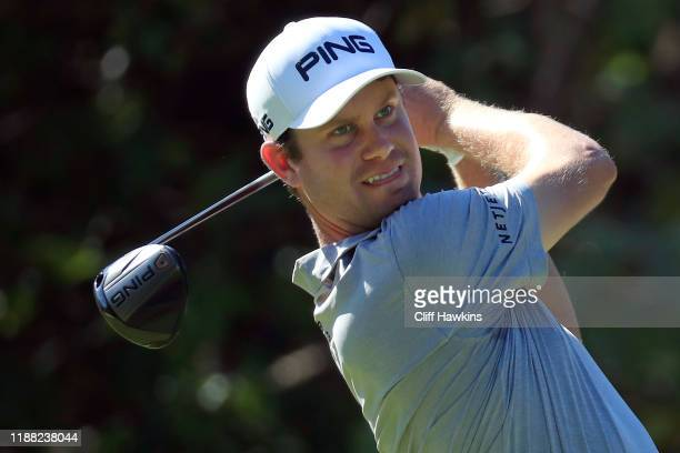 Harris English of the United States watches his drive on the seventh hole during the third round of the Mayakoba Golf Classic at El Camaleon Mayakoba...